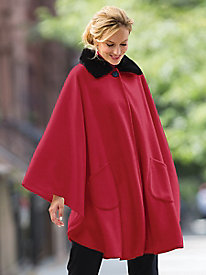 Fur-Collar Fleece Cape