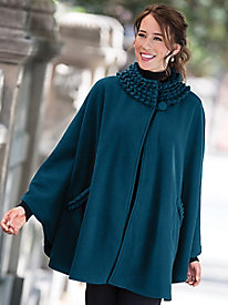 1950s Style Coats and Jackets Ruffle-Neck Fleece Cape $24.99 AT vintagedancer.com
