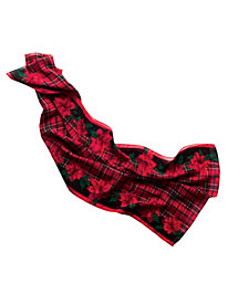 Poinsettia & Plaid Holiday Scarf