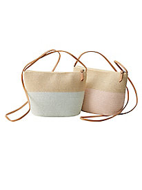 Pastel Colorblock Straw Bag