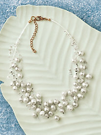 Genuine Pearl Cluster Necklace