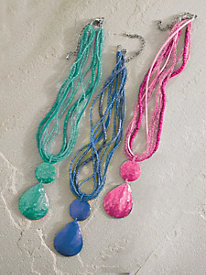 Beaded Shell-Drop Necklace