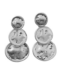 Silvertone Disk Earrings