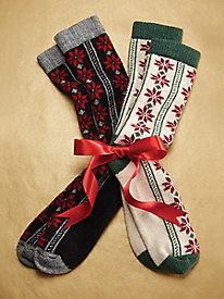 Poinsettia Stripe Socks