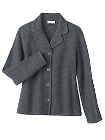 Notched Collar Boiled Wool Jacket