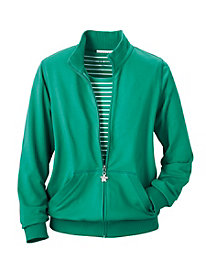 Ribbed Trim French Terry Jacket