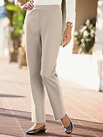 Slim-Leg Ponte Knit Pull-On Pants