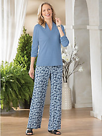 Paisley Crinkle Pull-On Pants