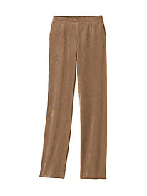 Corded Microsuede Flat-Front Pull-On Pant