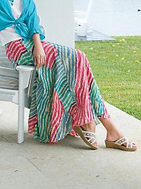 Multi-Stripe Crinkle Skirt