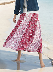 Contrast Floral Gored Skirt