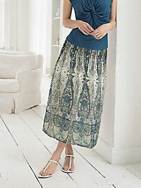 Paisley Pintucked Skirt