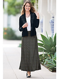 Mitered Stripe Knit Skirt