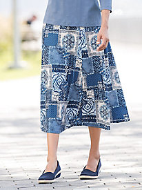 Patchwork Print Knit Skirt