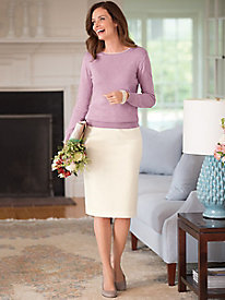 Stretch Wool Gabardine Straight Skirt
