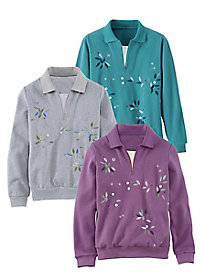 Koret Layered-Look Embroidered Fleece Top