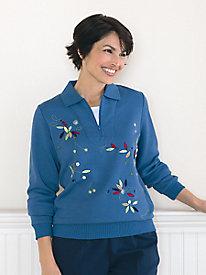 Koret Layered-Look Embroidered Fleece Top