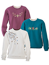 Morning Sun Embroidered Sweatshirts for Fall