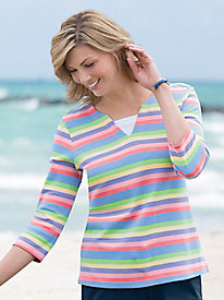 Multi-Stripe Tee With Inset