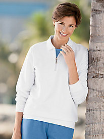 Casual Fleece Long-Sleeve Quarter-Zip Top