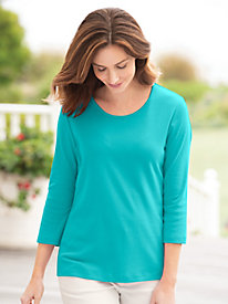 Three-Quarter Sleeve Scoop-Neck Tee