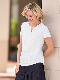 Embroidered Texture-Mix Top by Erika