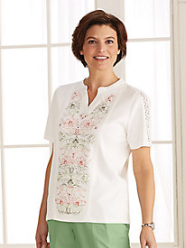 Key Largo Floral Embroidered Tee by Alfred Dunner