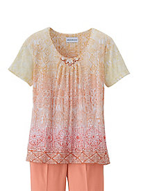 Key Largo Medallion Burnout Tee by Alfred Dunner