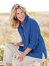 Tab-Sleeve Crinkle Cotton Shirt