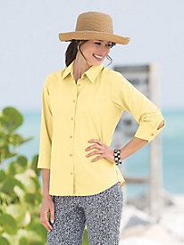Three-Quarter Sleeve Broadcloth Shirt