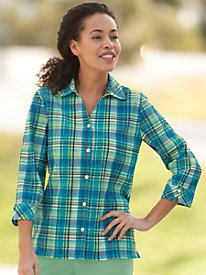 3/4 Sleeve Plaid Shirt