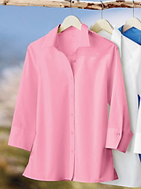 Wrinkle-Free 3/4 Sleeve Shirt by Foxcroft