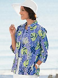 Tropical Leaf Crinkle-Cotton Shirt