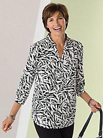 Bamboo Leaf Print Popover Blouse