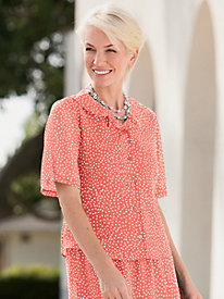 'Dressy in Dot's' Ruffle Button-Front Blouse