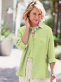 Crinkle Relaxed Solid Roll-Tab Shirt