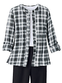 Crinkle Plaid Roll-Tab Shirt
