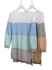 Colorblock High-Low Hem Sweater
