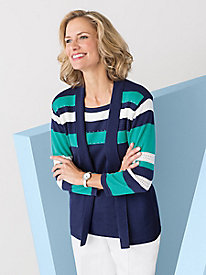 Striped 2-In-1 Cardigan Set by Alfred Dunner