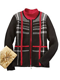 Plaid Zip-Front Cardigan