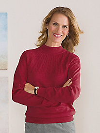 Sunburst-Cable Mock Sweater