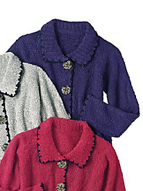 Crocheted-Trim Boucle Cardigan