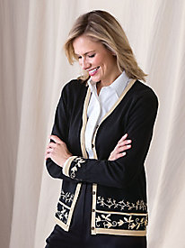 Embroidered Border Cardigan by Koret®