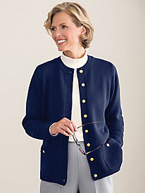 Gold-Button Cardigan by Koret®