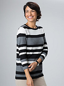 Button-Back Striped Sweater