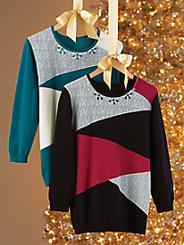 Alfred Dunner® Embellished Colorblock Sweater