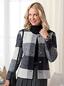 Plaid Boiled-Wool Jacket