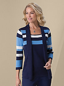 Striped 2-In-1 Cardigan