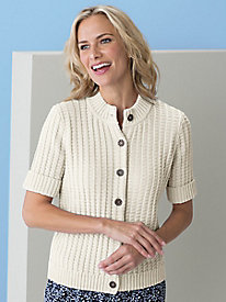 Short-Sleeve Textured Cardigan