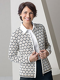 Shell Jacquard Zip-front Cardigan